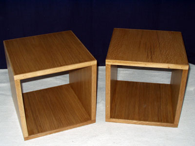 Top view of a pair of bedside tables in the form of a cube with open back and front