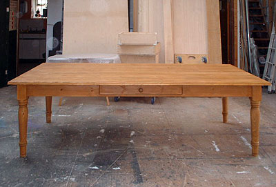 Front view of a large pine table