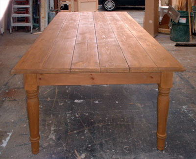 End view of a large pine table