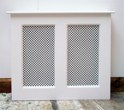 Front view of a wooden radiator cover with two mesh panels, finished in gloss white